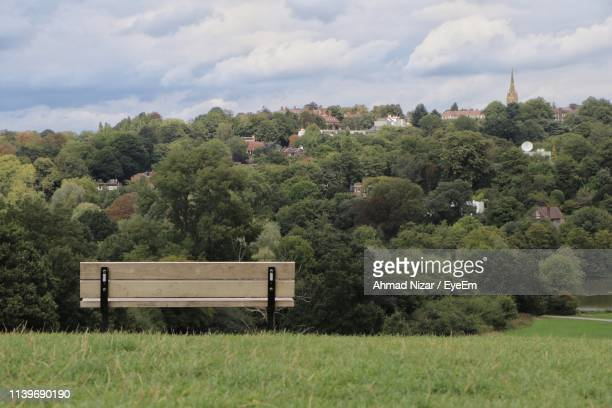 trees on field against sky - hampstead heath stock pictures, royalty-free photos & images