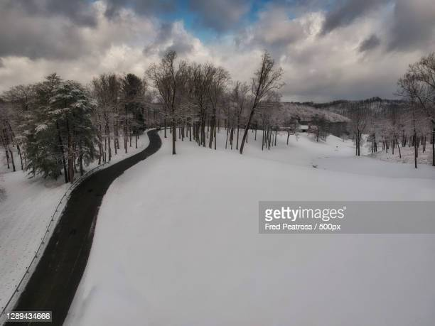 trees on snow covered field against sky,huntington,west virginia,united states,usa - huntington west virginia stock pictures, royalty-free photos & images