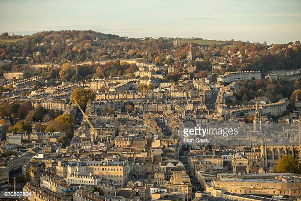 Trees surrounding the historic city of Bath display their autumn colours on November 2 2016 in Bath England After one of the driest October's on...