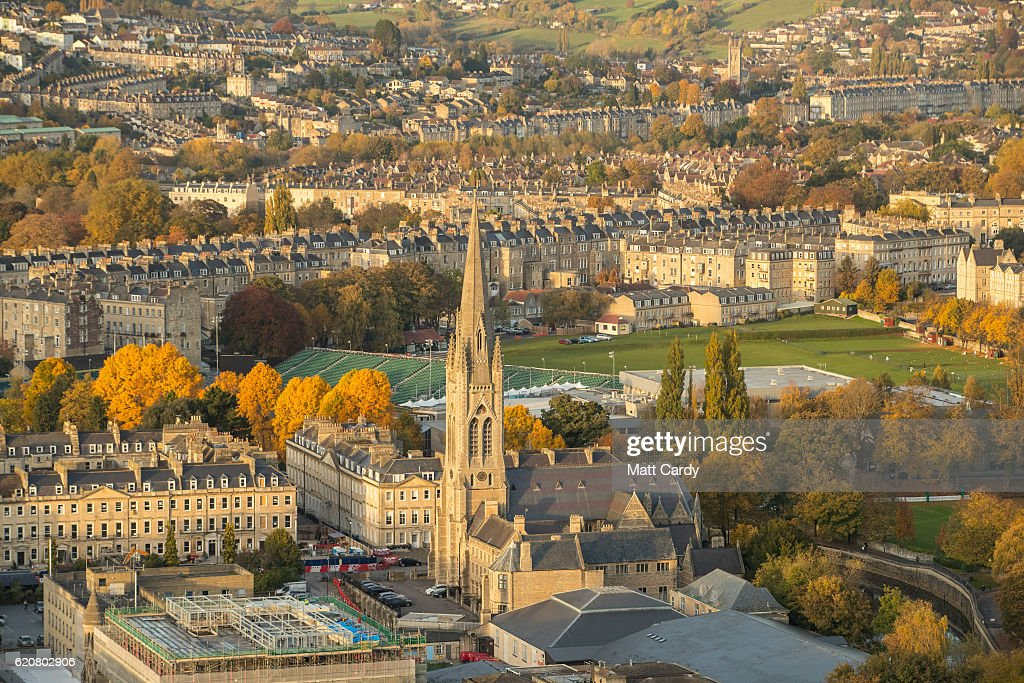 Trees surrounding the historic city of Bath display their autumn colours on November 2, 2016 in Bath, England. After one of the driest October's on record the colour of the remaining leaves on trees in many parts of the UK are beginning to reach their peak.