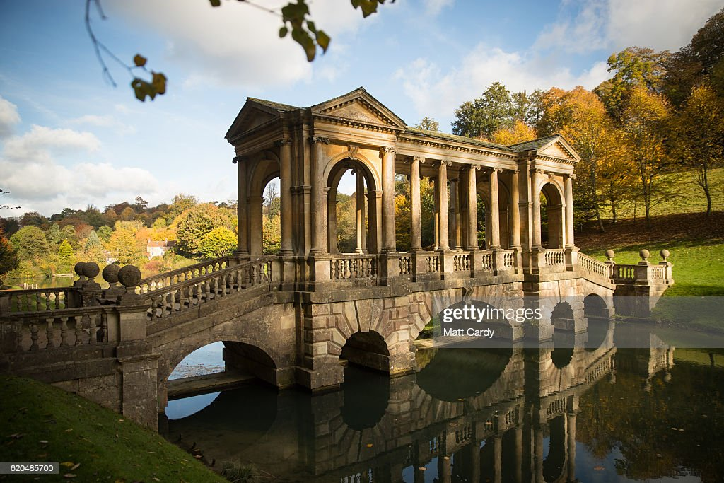 Trees surrounding the National Trust's Prior Park Landscape Garden display their autumn colours on November 2, 2016 in Bath, England. After one of the driest October's on record the colour of the remaining leaves on trees in many parts of the UK are beginning to reach their peak.