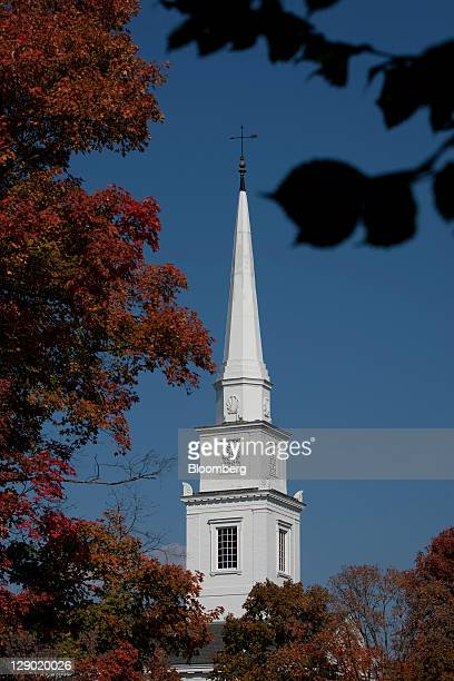 Trees turn to fall colors on the Dartmouth College campus the day before a Republican presidential debate sponsored by Bloomberg via Getty Images and...