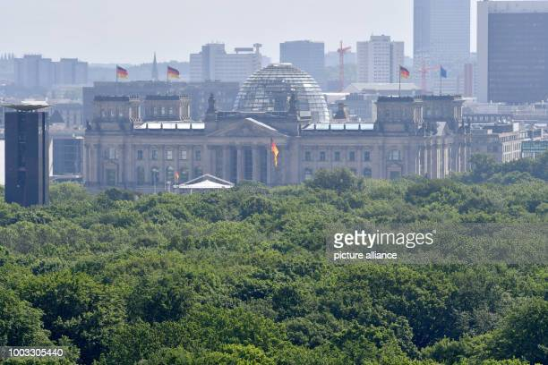 Treetops surround the Reichstag und the Carillon a glockenspiel which can be played by hand in Berlin Germany 25 May 2017 Photo Paul Zinken/dpa