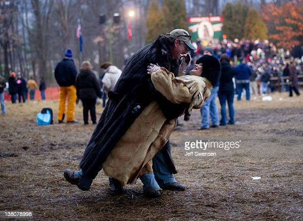 Treg Wentling and Shirley Wentling of Derry PA dance in celebration after Punxsutawney Phil came from his den at the 126th annual Groundhog Day...