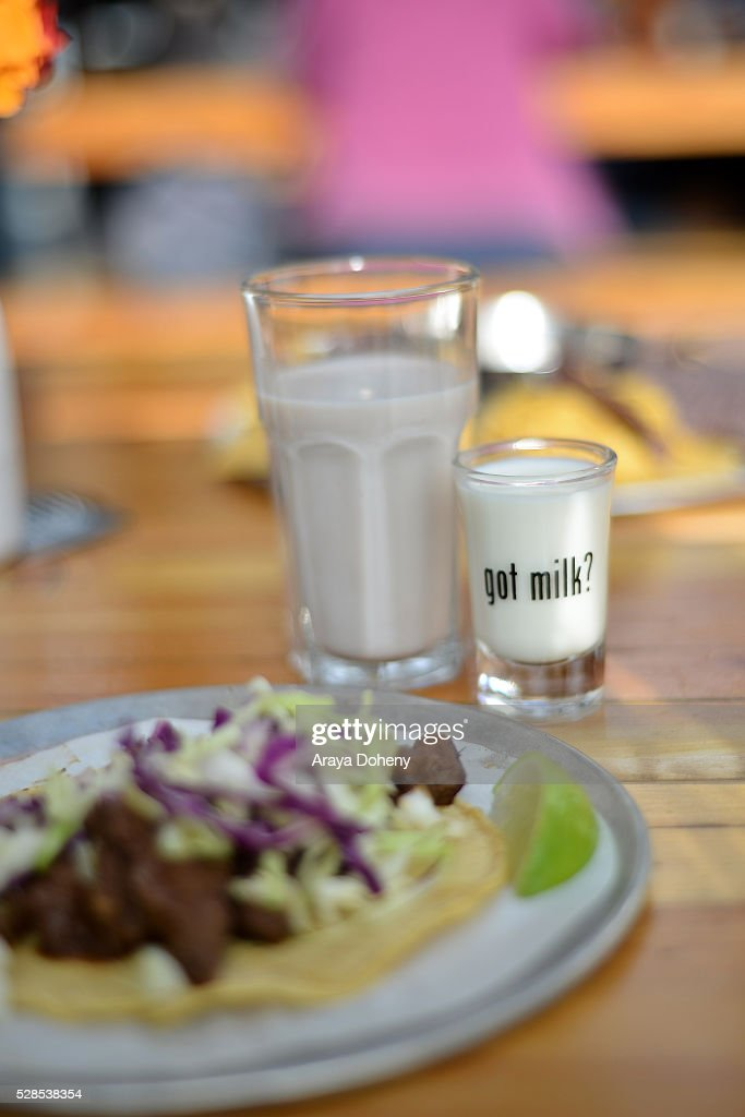 Trejo's Tacos are served at the Cinco De Mayo tasting with Danny Trejo for the 'Spicy Loves Milk' campaign at Trejo's Tacos on May 05, 2016 in Los Angeles, California.