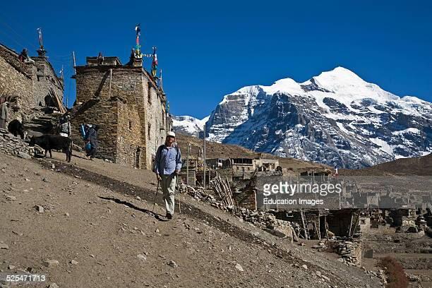 Trekker Leaving Nar Village With Kangguru Peak At 6981 Meters Nar Phu Trek Annapurna Conservation Area Nepal
