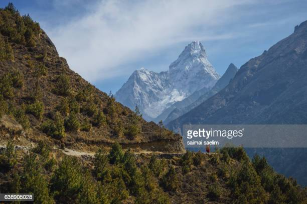 Trekker on the way to Everest base camp with Ama Dablam mountain peak in the background