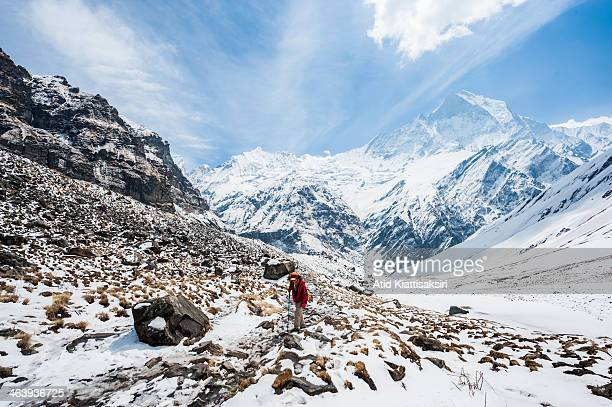 A trekker walks to the Annapurna base camp