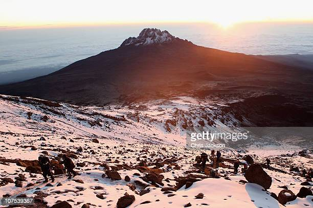 Trekkers climb up to Stella Point on day six of the Martina Navratilova Mt Kilimanjaro Climb on December 11 2010 in Arusha Tanzania Martina...