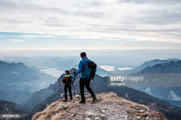 Trekkers during hiking on the mountains