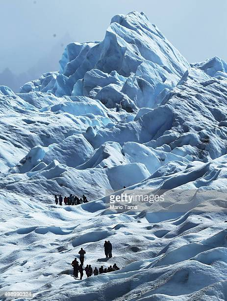 Trekkers hike atop Perito Moreno glacier in Los Glaciares National Park part of the Southern Patagonian Ice Field the third largest ice field in the...
