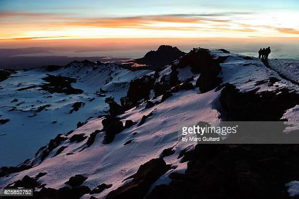 Trekkers on the top Mount Kilimanjaro, Tanzania