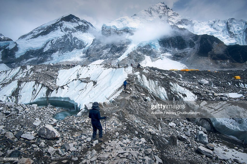 Trekkers on the way to Everest base camp. : Stock Photo