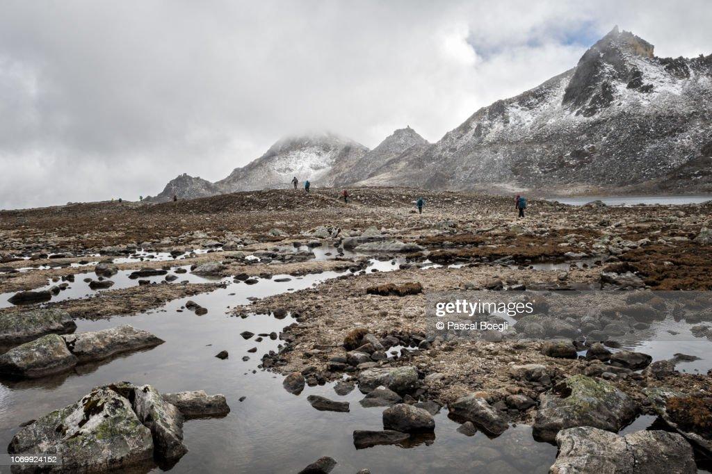 Trekkers on their way to Tshochena in a lunar valley, Lunana Gewog, Gasa District, Snowman Trek, Bhutan : Stock Photo
