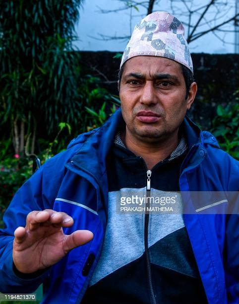 Trekking guide Krishna Hari Subedi who witnessed the avalanche in Annapurna mountain region speaks during an interview with AFP in Pokhara, some 200...
