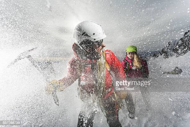 Trekking in a snow storm in the Austrian Alps