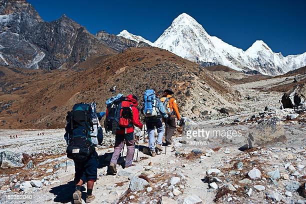 Trekking in Himalayas, mount Pumo Ri on the background