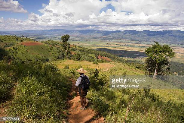 Trekking in the green hills around Inle lake