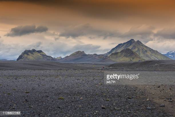 trekking laugavegur trail - lava stock pictures, royalty-free photos & images