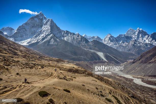 Trekking trail from Dingboche to Lobuche village with Ama Dablam and Kangtega mountain in the back ground