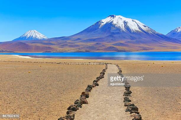 trekking trail path to lagunas miñiques and miscanti - lakes and snowcapped volcanoes mountains - turquoise lakes and idyllic atacama desert, volcanic landscape panorama – san pedro de atacama, chile, bolívia and argentina border - chile stock pictures, royalty-free photos & images