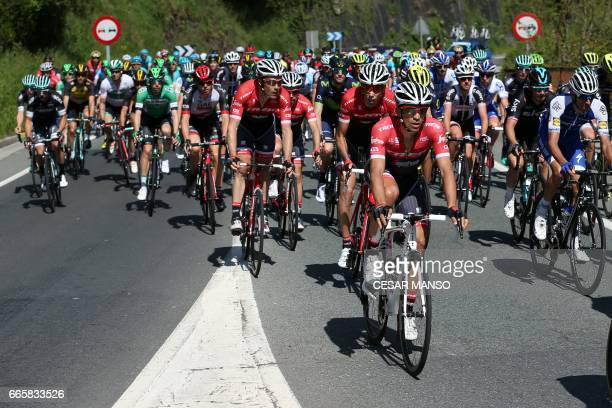 Trek's Spanish rider Alberto Contador rides near Eibar during the fifth stage of the 2017 Tour of the Basque country a 1398km route between Bilbao...