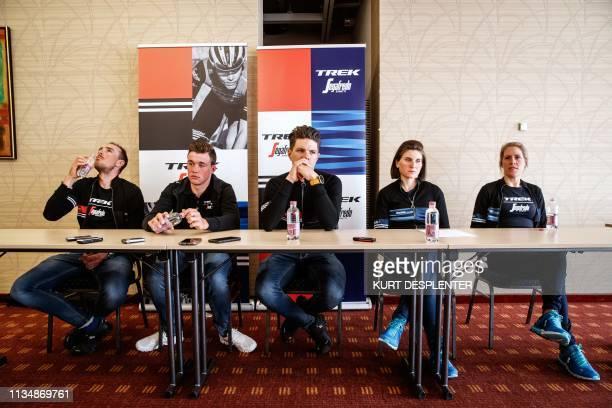 Trek-Segafredo riders, Germany's John Degenkolb, Denmark's Mads Pedersen, Belgium's Jasper Stuyven, Italy's Elisa Longo Borghini and Netherlands'...