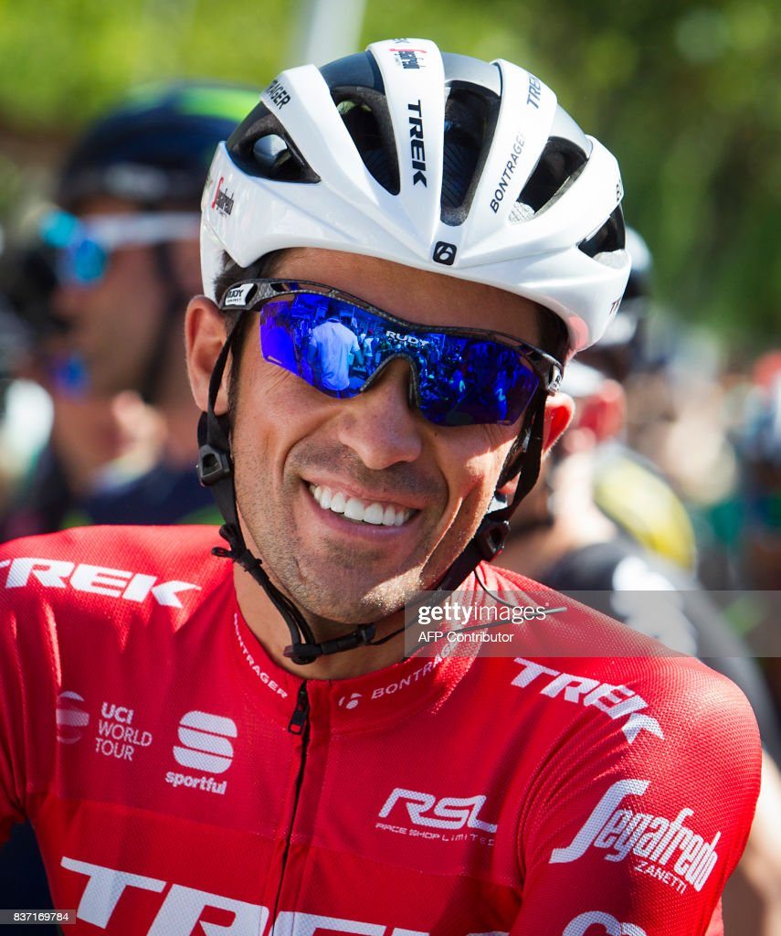 Trek-Segafredo Spanish cyclist Alberto Contador smiles prior to the start of the 4th stage of the 72nd edition of 'La Vuelta' Tour of Spain cycling race, a 198,2km route between Escaldes-Engordany to Tarragona on August 22, 2017. /