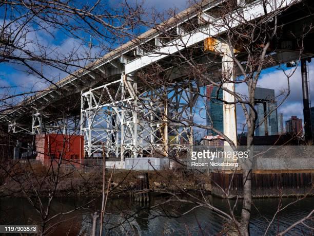 Trellised bridge of Interstate 495 Long Island Expressway crosses the Dutch Kills waterway in Long Island City, New York, January 5, 2020. The Dutch...