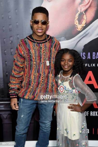 Tremaine Brown Jr and Lyric Hurd attend a special screening of the Netflix film Roxanne Roxanne at the SVA Theater on March 19 2018 in New York City