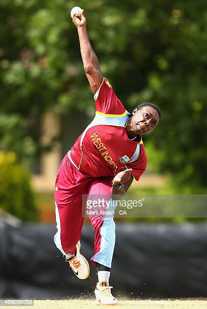 Tremayne Smartt of West Indies bowls during the Women's One Day International match between Australia and the West Indies on November 16 2014 in...