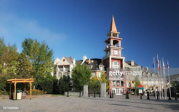 tremblant ski resort main entrance - mont tremblant stock pictures, royalty-free photos & images