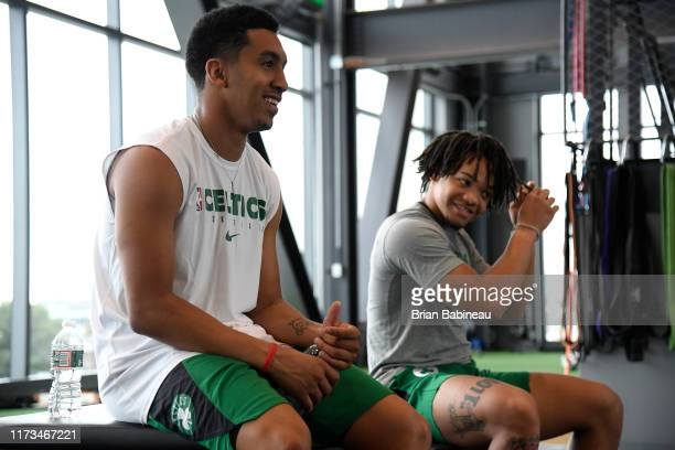 Tremont Waters of the Boston Celtics and Carsen Edwards of the Boston Celtics shares a laugh during practice on October 3 2019 at the Auerbach Center...