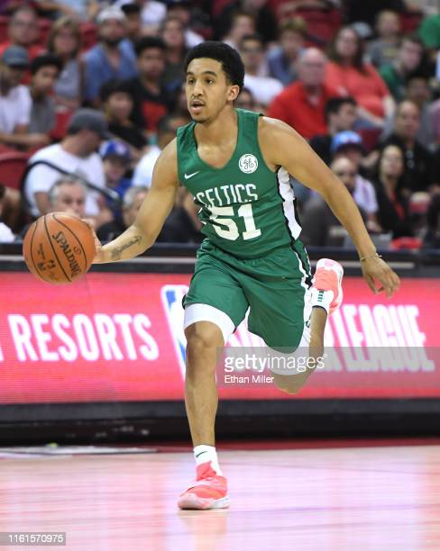Tremont Waters of the Boston Celtics brings the ball up the court against the Memphis Grizzlies during the 2019 NBA Summer League at the Thomas Mack...