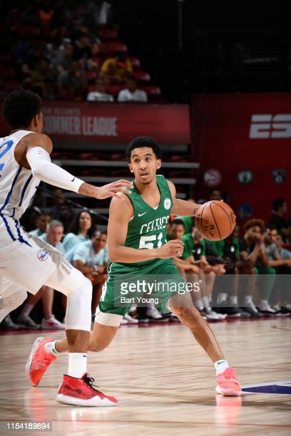 Tremont Waters of the Boston Celtics handles the ball against the Philadelphia 76ers during Day 2 of the 2019 Las Vegas Summer League on July 6 2019...