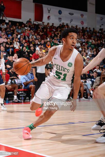 Tremont Waters of the Boston Celtics handles the ball against the Denver Nuggets on July 9 2019 at the Cox Pavilion in Las Vegas Nevada NOTE TO USER...