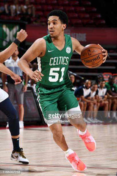 Tremont Waters of the Boston Celtics handles the ball against the Memphis Grizzlies on July 11 2019 at the Thomas Mack Center in Las Vegas Nevada...
