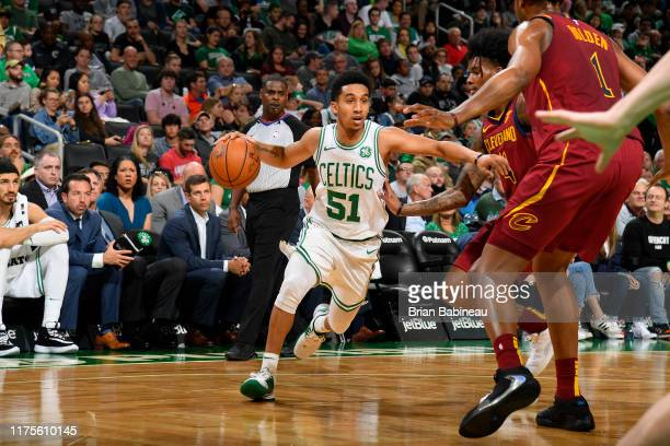 Tremont Waters of the Boston Celtics handles the ball against the Cleveland Cavaliers during a preseason game on October 13 2019 at the TD Garden in...