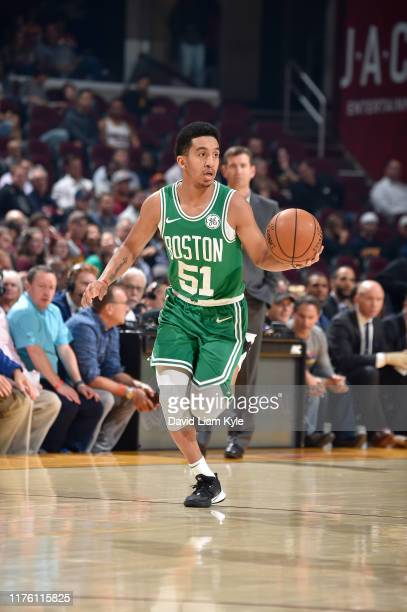 Tremont Waters of the Boston Celtics handles the ball against the Cleveland Cavaliers during a preseason game on October 15 2019 at Rocket Mortgage...