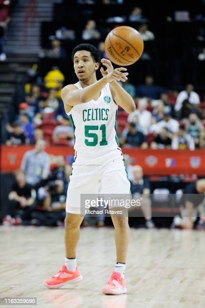 Tremont Waters of the Boston Celtics in action against the Cleveland Cavaliers during the 2019 Summer League at the Thomas Mack Center on July 08...
