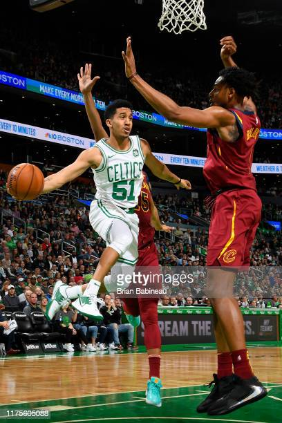 Tremont Waters of the Boston Celtics passes the ball against the Cleveland Cavaliers during a preseason game on October 13 2019 at the TD Garden in...
