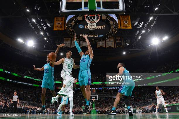 Tremont Waters of the Boston Celtics passes the ball against the Charlotte Hornets on October 6 2019 at the TD Garden in Boston Massachusetts NOTE TO...