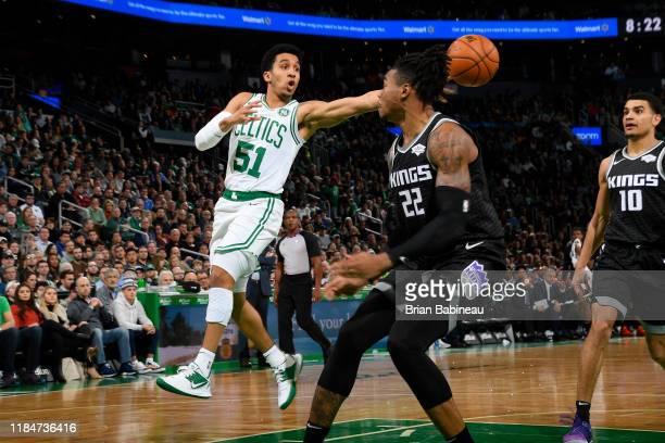 Tremont Waters of the Boston Celtics passes the ball against the Sacramento Kings on November 25 2019 at the TD Garden in Boston Massachusetts NOTE...