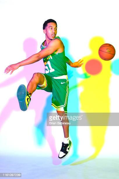 Tremont Waters of the Boston Celtics poses for a portrait during the 2019 NBA Rookie Photo Shoot on August 11 2019 at the Fairleigh Dickinson...