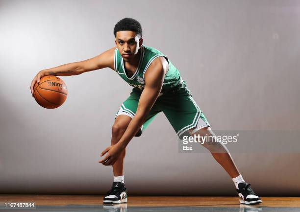 Tremont Waters of the Boston Celtics poses for a portrait during the 2019 NBA Rookie Photo Shoot on August 11 2019 at the Ferguson Recreation Center...