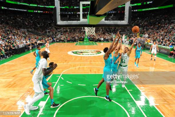 Tremont Waters of the Boston Celtics shoots the ball against the Charlotte Hornets on October 6 2019 at the TD Garden in Boston Massachusetts NOTE TO...