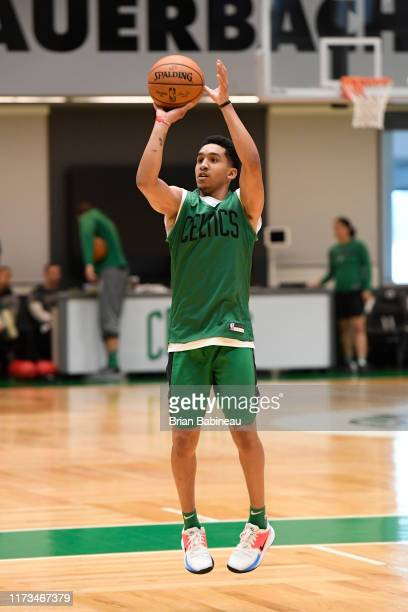 Tremont Waters of the Boston Celtics shoots the ball during practice on October 3 2019 at the Auerbach Center in Brighton Massachusetts NOTE TO USER...