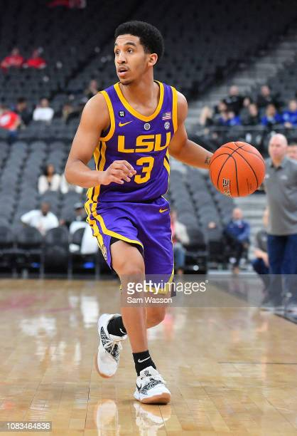 Tremont Waters of the LSU Tigers dribbles against the Saint Mary's Gaels during their game at TMobile Arena on December 15 2018 in Las Vegas Nevada...
