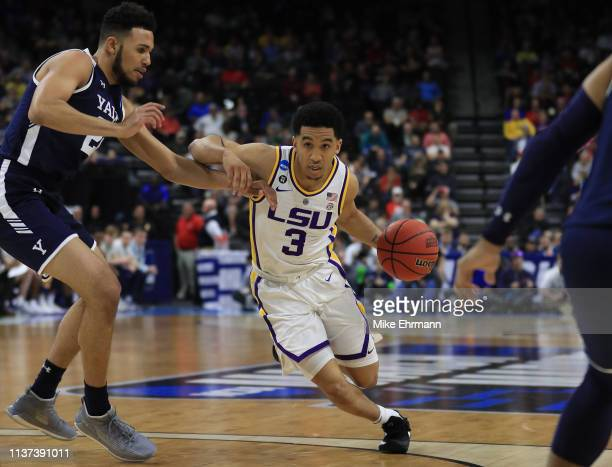 Tremont Waters of the LSU Tigers dribbles the ball in the second half against the Yale Bulldogs during the first round of the 2019 NCAA Men's...