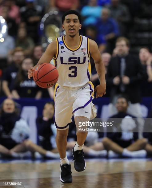 Tremont Waters of the LSU Tigers during the first round of the 2019 NCAA Men's Basketball Tournament at VyStar Jacksonville Veterans Memorial Arena...